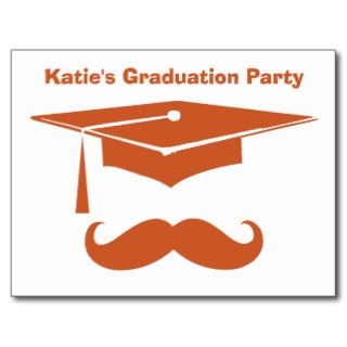 Mustache Graduation Texas Orange Post Card