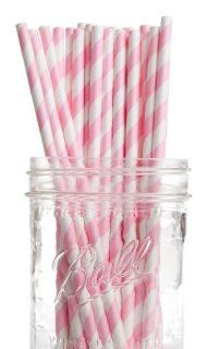 Dress My Cupcake Bubblegum Pink Striped Paper Straws, 25 Pack Kitchen & Dining