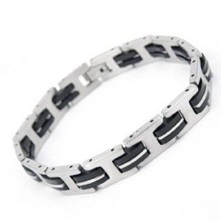 8.3'' Men 316 Stainless Steel Silicone Rubber Bracelets I girder Geometry Bangle Toys & Games