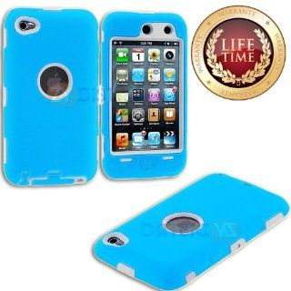 myLife (TM) Sky Blue + White Armored Survivor (Built In Screen Protector) Shockproof Case for iPod 4/4S (4G) 4th Generation iTouch (Full Body Armor Outfit + Soft Silicone External Shock Proof Gel + 2 Piece Internal Snap On Shield + Lifetime Warranty + Seal