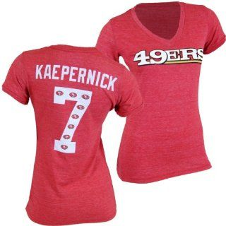 San Francisco 49ers NFL Colin Kaepernick #7 Womens Name & Number Ringer V Neck T  Athletic T Shirts  Sports & Outdoors
