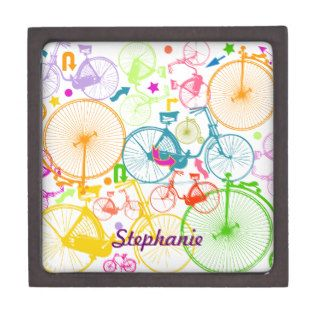 Vintage Modern Bicycle Bright Color Neon Pattern Premium Gift Box