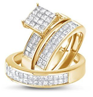 Size   4   14k Yellow Gold Diamond Mens and Ladies Couple His & Hers Trio 3 Three Ring Bridal Matching Engagement Wedding Ring Band Set Invisible Channel Set Princess Shape Solitaire Style Center Setting with Side Stones Princess Cut Diamond Ring (1.70