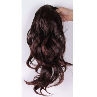 Long Wavy Curly Ponytail Pony Dark Brown Wig Hair Piece Extensions 45cm Beauty