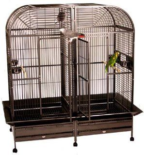 Piilani Plantation Bird Cage   White   Double Divider   Keeps  Birdcages