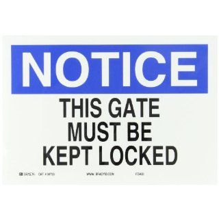 "Brady 84738 Self Sticking Polyester Door Sign, 7"" X 10"", Legend ""This Gate Must Be Kept Locked"" Industrial Warning Signs"