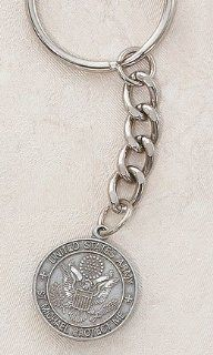 Pewter Keychain (Key Ring) St. Michael, US Armed, Forces, Military US Army. St. Michael the Archangel Is Known for Protection As Well As the Patron of Against Danger At Sea, Against Temptations, Ambulance Drivers, Artists, Bakers, Bankers, Banking, Barrel