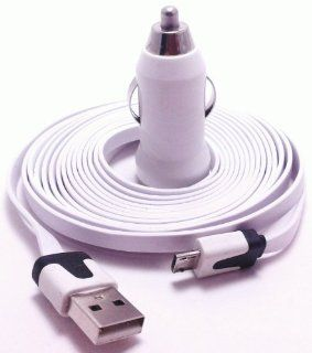 CablesFrLess 10ft (10 feet 10') Tangle Free Noodle Style Micro B USB Charging / Data Sync Cable + USB Car Adapter fits most Android devices Cell Phones & Accessories