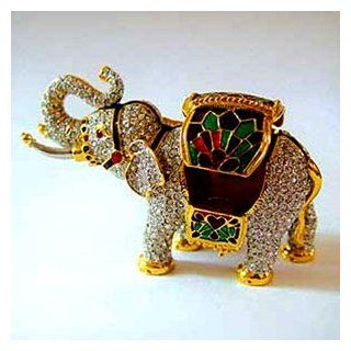 "24k Gold Plated Enamel Swarovski Crystal ""Elephant"" Keepsake Box (2 inches x 3 1/2 inches)   Gift Boxed Jewelry Boxes Jewelry"