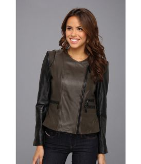 Vince Camuto Collarless Two Tone Leather Moto Jacket Olive/Black