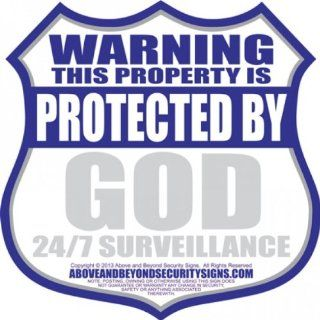 HOME SECURITY YARD SIGN W/STAKE   GOD 24/7 SURVEILLANCE  Yard Signs  Patio, Lawn & Garden