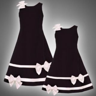 Size 6 RRE 46240H BLACK IVORY SATIN VELVET BOWS and BANDS Special Occasion Wedding Flower Girl Holiday Pageant Party Dress,H346240 Rare Editions LITTLE GIRLS Clothing