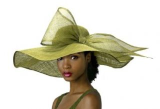 "Kentucky Derby Large Bow Sinamay ""Floppy"" Hat M28 Olive Green"