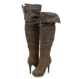 Wild Diva Charlotte01 Thigh High Boots Taupe Shoes