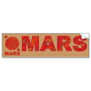 Mars Art Red Planet Love Bumper Sticker