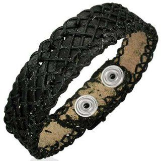 "B260 8.66"" Genuine Black Leather Crossover Weave Snap Bracelet Mission Jewelry"