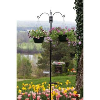 96.5 Black Multi Functional Bird Feeder and Shepards Hook Planter Decoration Patio & Outdoor Decor