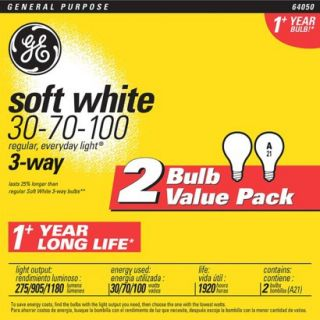 GE 3 Way 30 70 100 Soft White Light Bulbs 2 pk.