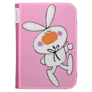 Happy Dancing Cute Cartoon White Rabbit Bunny Case For Kindle