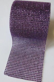 "Dark Purple Diamond Rhinestone Mesh Ribbon, Wedding Ribbon, Diaper Cake Ribbon, 4.75"" X 10 Yards, 24 Row, 1 Roll"