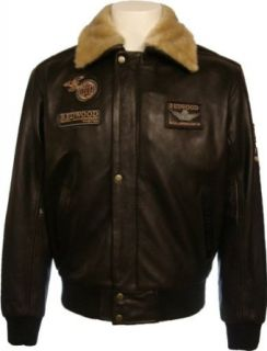 Mens 100% Real Leather Jacket Pilot Brown HideN4 at  Men�s Clothing store