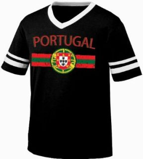 Portugal Crest International Soccer Style T Shirt, Portuguese Pride Mens V Neck T shirt Clothing