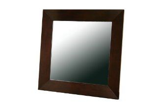 Baxton Studio Daffodil Dark Brown Wood Frame Modern Mirror, Square   Wall Mounted Mirrors