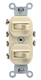Leviton 5243 15 Amp, 120/277 Volt, Duplex Style Two 3 Way Combination Switch, Commercial Grade, Ivory   Wall Light Switches