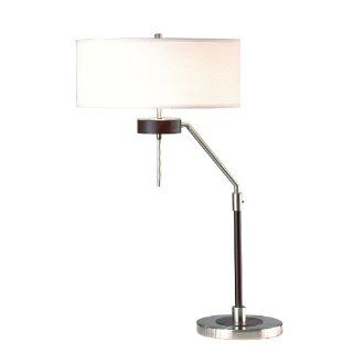 Nova Lighting 0785 Miles Table Lamp, Dark Brown Wood & Brushed Nickel with White Linen Shade