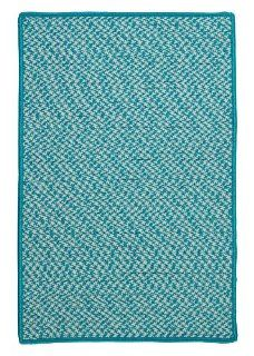 Outdoor Houndstooth Tweed Square Rug, 6 Feet, Turquoise   Braided Rugs