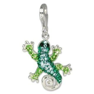 SilberDream Glitter Charm Swarowski Elements gecko, green and turquoise shiny, 925 Sterling Silver Charms Pendant with Lobster Clasp for Charms Bracelet, Necklace or Earring GSC302 SilberDream Jewelry