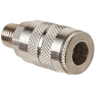 "Dixon Valve 2FM2 S Stainless Steel 303 Manual Industrial Interchange Pneumatic Fitting, Socket, 1/4"" Coupler x 1/4""   18 NPTF Male Thread Quick Connect Hose Fittings"