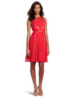 BCBGMAXAZRIA Women's Raya Sleeveless Pleated Lace Dress, Red Berry, 0