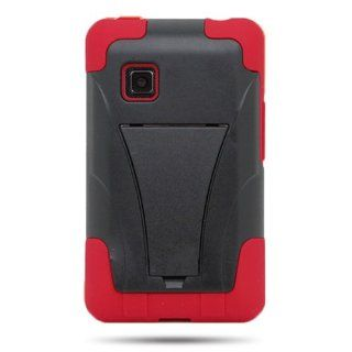 CoverON� HYBRID Heavy Duty Hard BLACK Case and Soft RED Silicone Skin Cover with Kickstand for LG 840G [WCJ150] Cell Phones & Accessories