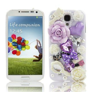 Generic White Handmade 3D Bling Hard Case for Samsung Galaxy S4 S IV i9500 i9505 with Purple Flower Bow Heart White Mirror Comb Bag Pearl Crystal Diamond Cover Cell Phones & Accessories