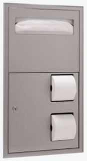 "Bobrick 3474 ClassicSeries 304 Stainless Steel Recessed Dual Roll Seat Cover and Toilet Tissue Dispenser, Satin Finish, 16"" Width x 29 1/4"" Height"
