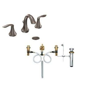Moen T6420ORB 9000 Oil Rubbed Bronze Eva Double Handle Widespread Bathroom Faucet and Rough In Valve from the Eva Collection T6420 9000   Bathroom Sink Faucets