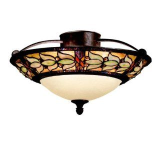 Kichler Lighting 69045 2 Light Art Glass Collection Semi Flush Ceiling Light, Tannery Bronze with Gold Accent   Semi Flush Mount Ceiling Light Fixtures