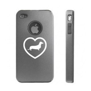 Apple iPhone 4 4S Silver D4681 Aluminum & Silicone Case Cover Heart Love Dachshund Puppy Dog Cell Phones & Accessories