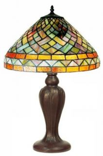 Warehouse of Tiffany 321+BB68 Tiffany style Geometric Table Lamp, Yellow