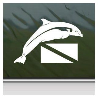 Dolphin Over Dive Flag Scuba Diver White Sticker Laptop Vinyl White Decal
