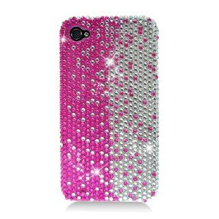 Eagle Cell PDIPHONE4F322 RingBling Brilliant Diamond Case for iPhone 4   Retail Packaging   Hot Pink/Silver Divide Cell Phones & Accessories