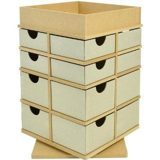 "Beyond The Page MDF Turntable Drawers With Tray Top 12.75""X8.25""X8.25"" (325x210x210mm)   Furnitureanddecor"