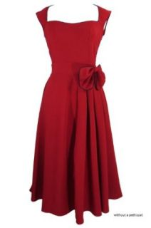 Classic Pinup Red Vintage 60's Red Cocktail Flare Party Dress with Bow