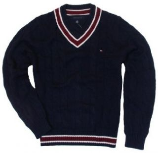 Tommy Hilfiger Mens Cable Knit V Neck Sweater   M   Navy at  Men�s Clothing store