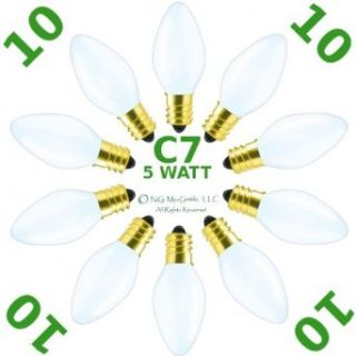 10 Pack ~ C7 ~ WHITE ~ CERAMIC (Opaque) ~ Christmas Holiday ~ E12 Candelabra ~ 5 Watt ~ Replacement ~ Light Bulbs   Incandescent Bulbs