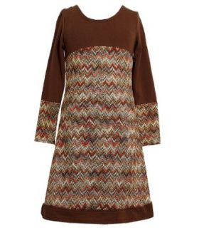 Size 10 BNJ 6548B BROWN MULTICOLOR FLAMESTITCH LONG SLEEVE KNIT Girl Party Dress,Bonnie Jean B46548 Girls 7 16 Clothing