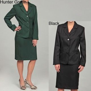DS Studio Women's Herringbone Three button Skirt Suit Skirt Suits