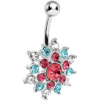 Crystalline Pink Aqua Gem Bursting Flower Belly Ring Body Candy Jewelry