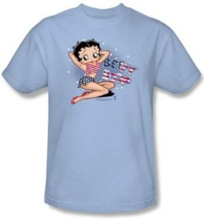 Betty Boop Kids T shirt All American Girl Youth Light Blue Tee Shirt Clothing